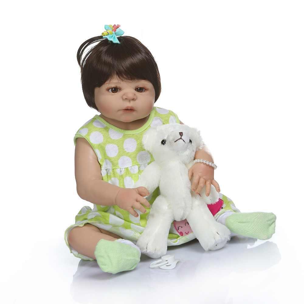 NPK 56CM de corpo inteiro de silicone bebê reborn boneca victoria menina em tan pele doce boneca reborn brinquedo do Banho lol dolls Gfit
