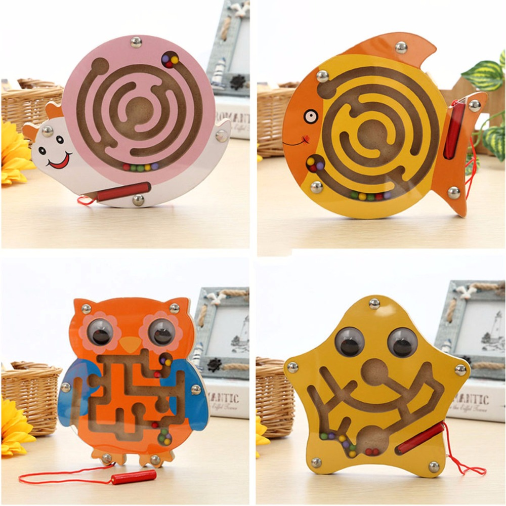 Baby Mental Intellectual Development Games Small Pen Kids Toy Baby Educational Maze Wooden Puzzle Animal Magnetic Maze Toys in Puzzles from Toys Hobbies