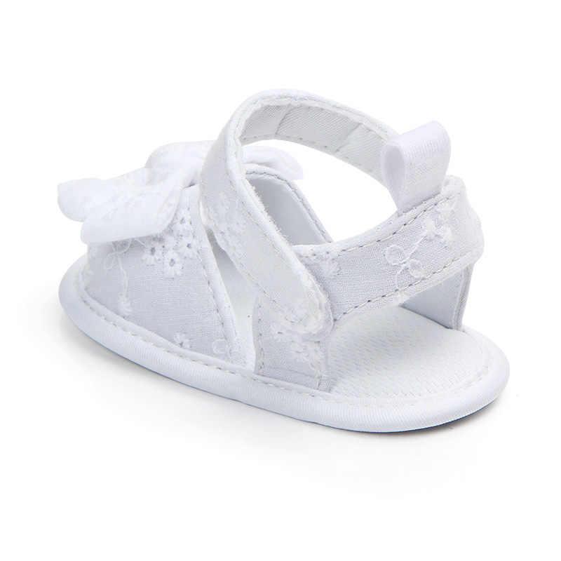 Zomer Nieuwe Baby Meisje Sandalen Leuke Kanten Bloemen Bows Peuter Meisjes Schoenen Effen Kleur Zachte Katoenen Zolen Baby Sandalen Todder schoenen