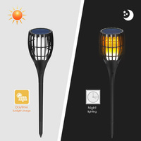 Solar Powered Flame Lights Square Creative Lawn Light Garden Pathways Party Bright Torch Lamp Household Accessory