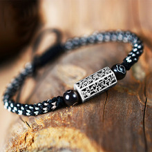 925 пробы Серебряный Тибетский шесть слов браслет с мантрой для мужчин ручной работы Плетенный Будда духовные браслеты для женщин подарок для Него LJ-06