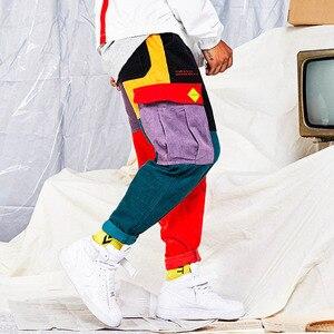Image 5 - Hip Hip Broek Vintage Kleur Blok Patchwork Corduroy Cargo Harem Broek Streetwear Harajuku Jogger Sweatpant Katoenen Broek 2019