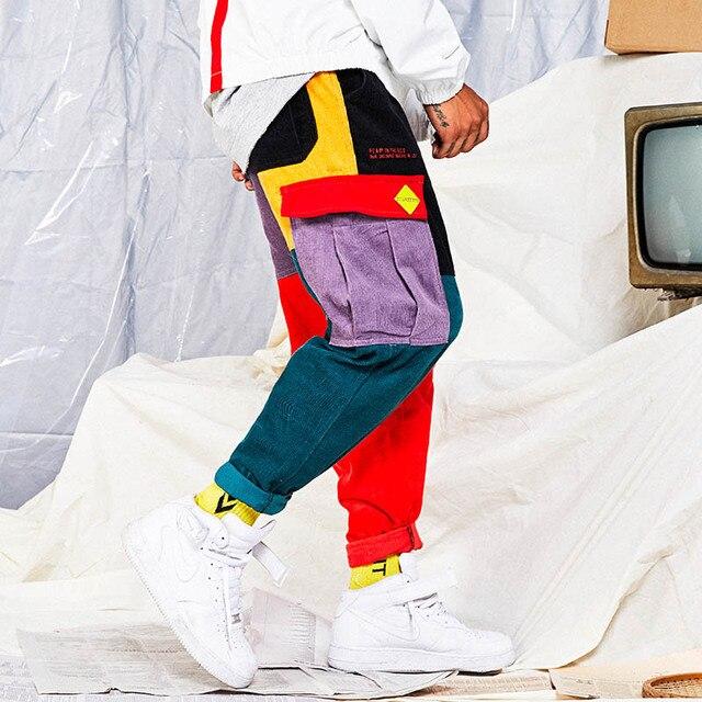 Hip Hip Pants Vintage Color Block Patchwork Corduroy Cargo Harem Pant Streetwear Harajuku Jogger Sweatpant Cotton Trousers 2019 5