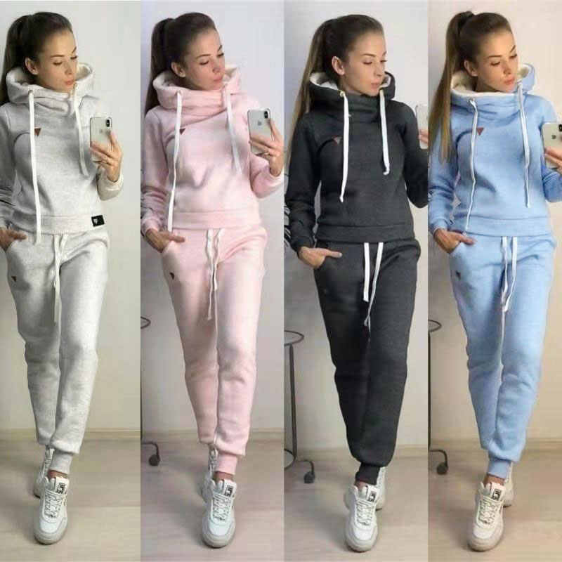 2019 Autumn Winter 2pcs Sport Sets Tracksuit For Women Long Sleeve Jackets Plus Velvet Pants Coats Warm Outfits Running Suit
