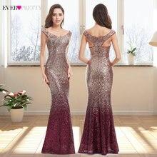 Avondjurk Lange Sparkle 2020 Nieuwe V hals Vrouwen Elegante EB29998 Sequin Mermaid Maxi Avond Party Gown Dress Abendkleider 2020