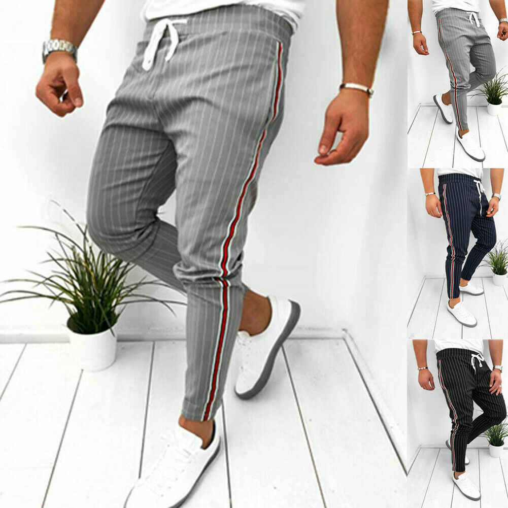 最新のファッションメンズフォーマルなレトロハーレムストライプパンツスリムフィットカジュアルビジネスオフィスロングワークアウトストレートズボン S-2XL