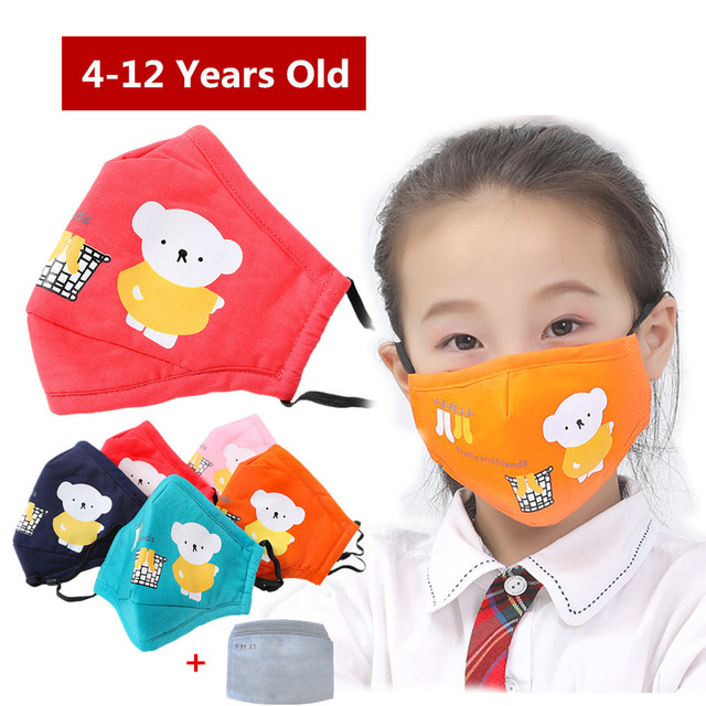 Kids Children Cotton Anti-Dust Face Mouth Mask Cartoon PM2.5 Protective Respirator Reusable Anti Fog Anti Flu Masks with Filters