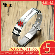Vnox Personalized Engraved TYPE 1 DIABETES Medical Alert ID Bracelets for Men Women Length Adjustable Emergency Reminder Jewelry