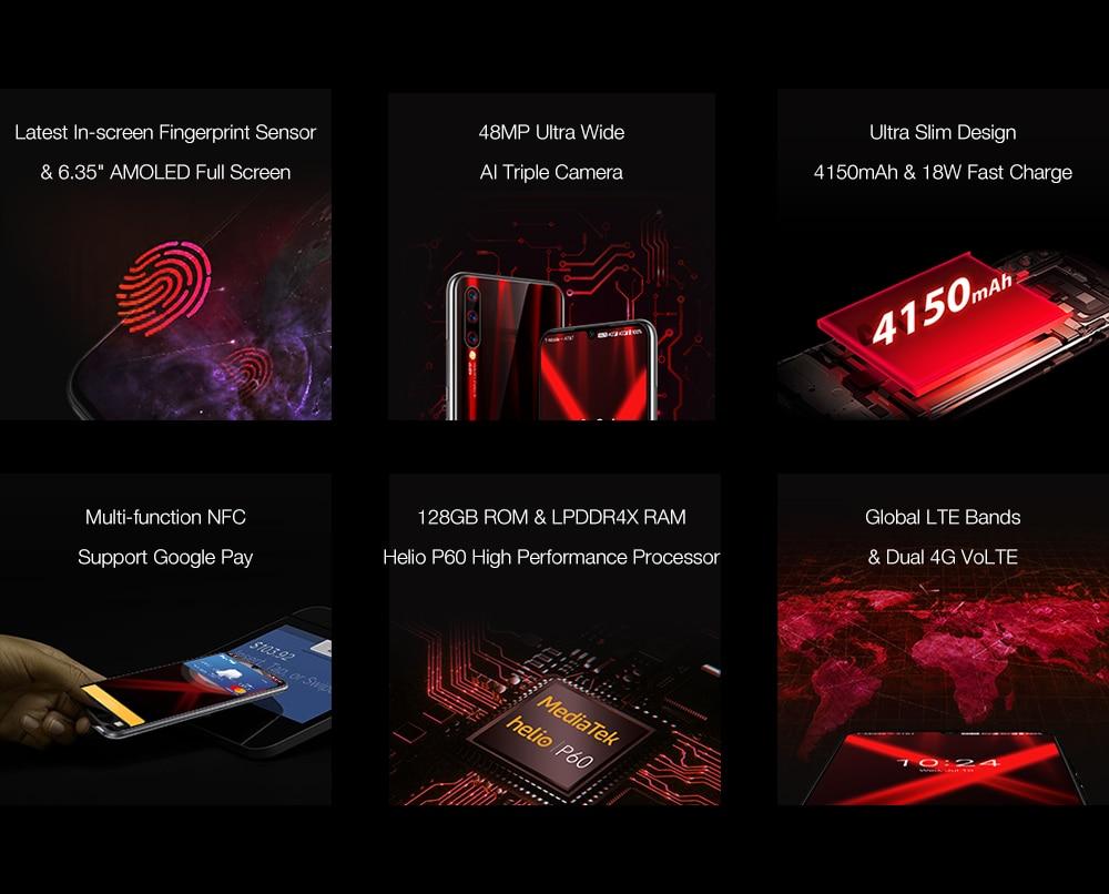 "Ha0ec58a668de4d088a3fb125b241037cT Global Version UMIDIGI X In-screen Fingerprint 6.35"" AMOLED 48MP Triple Rear Camera 128GB NFC Helio P60 4150mAh Cellphone"