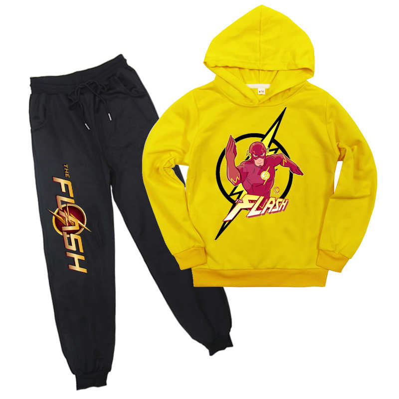 2-16Years Fall Fashion Kids Autumn Clothes Avengers The Flash Hoodies Pants Boys Clothes 2pcs Set Girls Outfit Kids Tracksuit