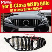 Apto para w205 estilo gts grade dianteira com câmera c classe w205 esportes c180 c200 c250 abs prata esporte amortecedor dianteiro grille 2015 in|Grades de corrida| |  -
