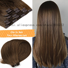 Human-Hair-Extensions Neitsi-Machine Clip-In Full-Head Remy Black 100g 7pcs 20-24-Blonde-Color