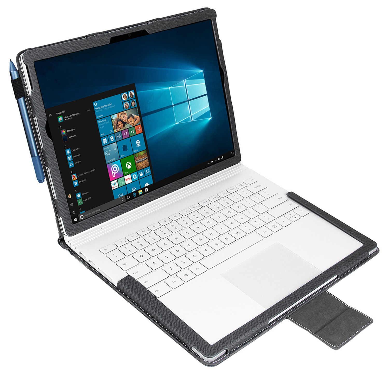 2019 nouvelle Version améliorée étui à housse d'ordinateur portable pour Microsoft Surface Book 2 13.5 pouces-étui à rabat amovible en polyuréthane de qualité supérieure