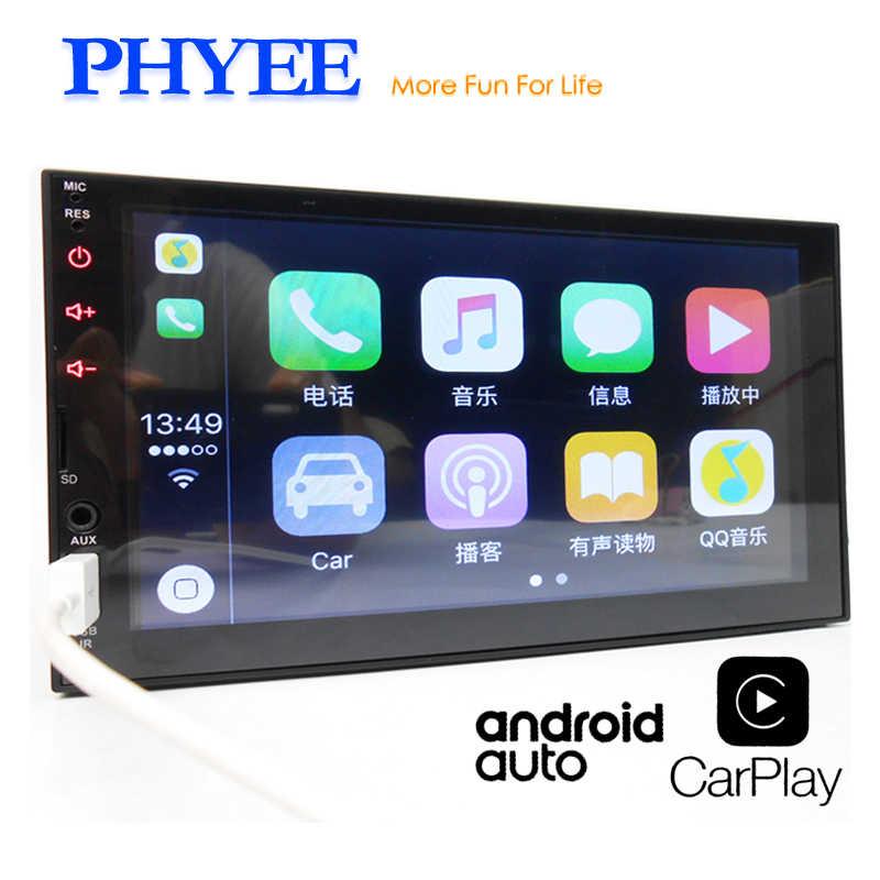 """2ディン Android Auto カーラジオApple Carplay 7 """"タッチスクリーンMP5マルチメディアプレーヤーBluetoothハンズフリーA2DP USBヘッドユニットPHYEE X2"""