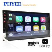 """2 din android auto rádio do carro apple carplay 7 """"tela de toque mp5 multimídia player bluetooth handsfree a2dp unidade de cabeça usb phyee x2"""