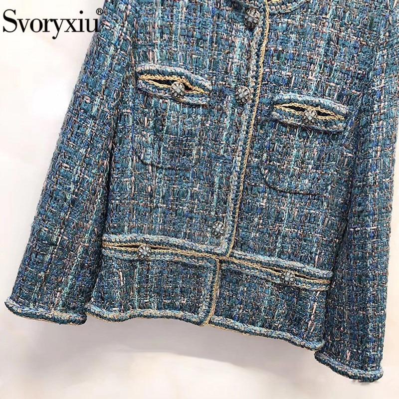 Kadın Giyim'ten Basic Ceketler'de Svoryxiu Tasarımcı Sonbahar Kış High End Iplik Tel Tüvit Tavuskuşu Mavi Dış Giyim Ceket kadın Ipek astarlı Ceket Ceket'da  Grup 3