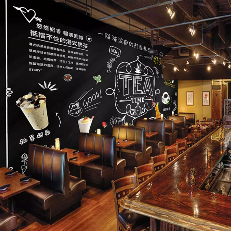 Large Vintage Wallpaper Hand-Painted Chalk Blackboard Milk Tea Restaurant Lounge Coffee Shop Background Wallpaper Mural