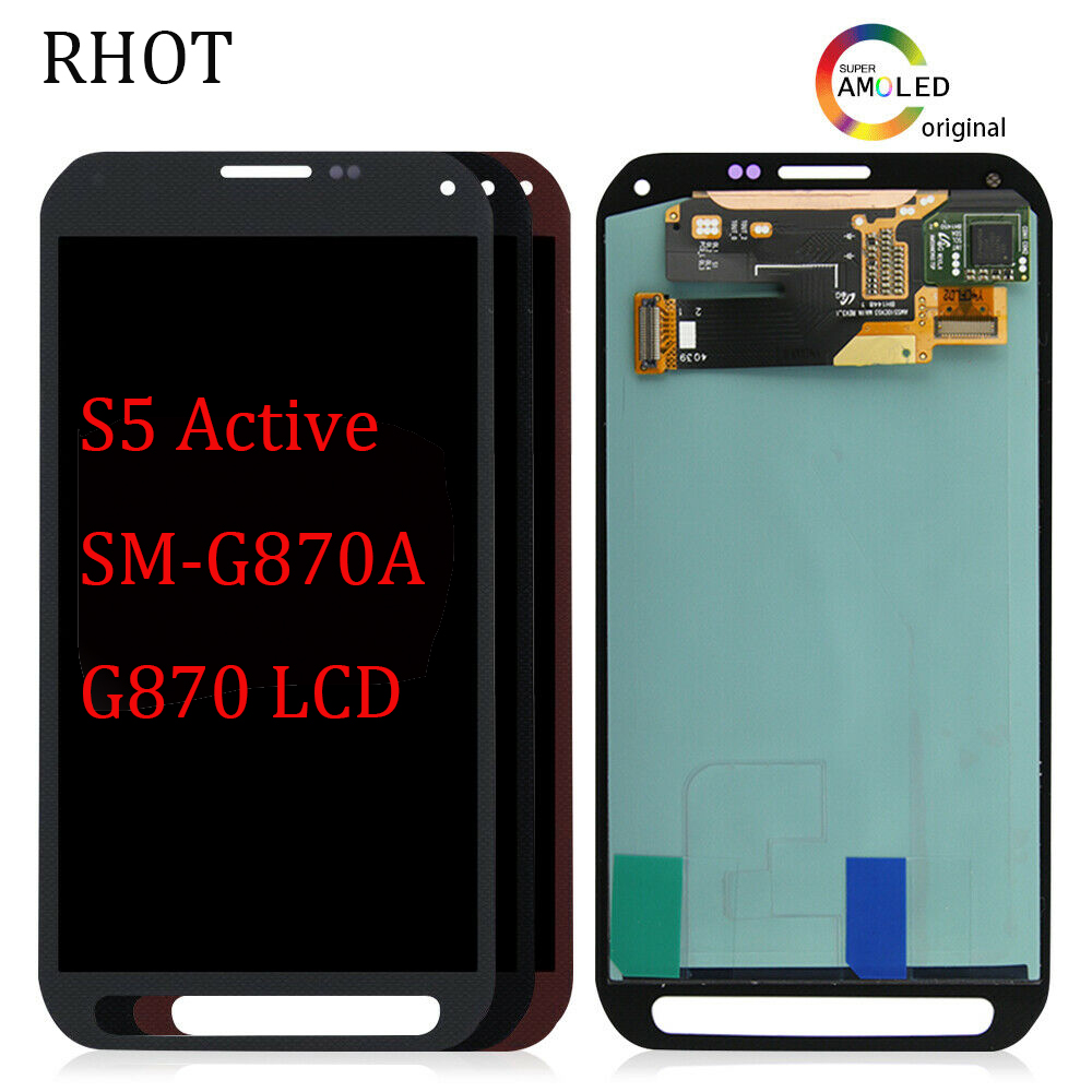 "100% tested 5.1"" super AMOLED LCD display for Samsung GALAXY S5 active SM-G870A <font><b>G870</b></font> LCD screen display touch digitizer assembly image"