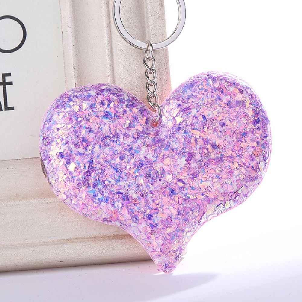 1 PC หัวใจพวงกุญแจกุญแจเงินโลหะพวงกุญแจคริสตัล Keyring Charm กระเป๋าจี้อัตโนมัติของขวัญขายส่งราคา