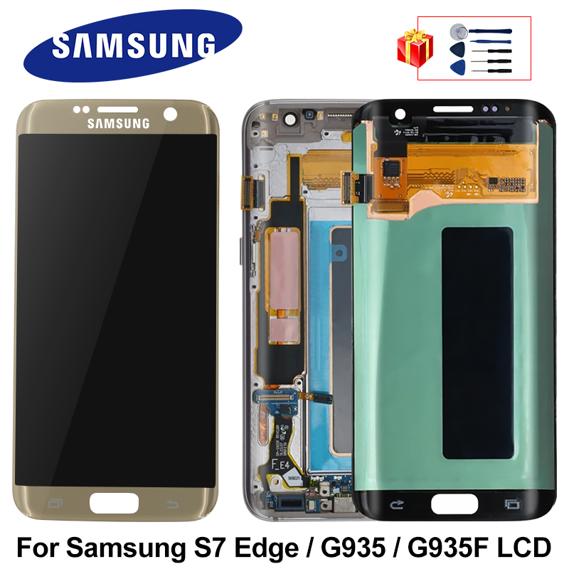 Original For <font><b>Samsung</b></font> <font><b>Galaxy</b></font> <font><b>S7</b></font> Edge G935 <font><b>LCD</b></font> Display Touch Screen Digitizer Replacement Parts For <font><b>S7</b></font>+ G935F <font><b>LCD</b></font> 5.5