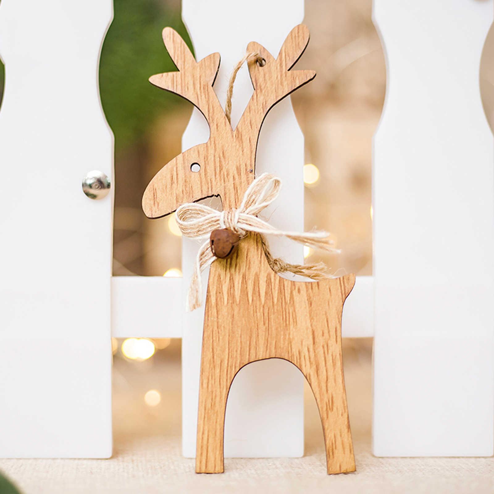 عيد الميلاد الانحناء الأيائل أجراس تزيين مُثبت عيد الميلاد الحرف الخشبية السنة الجديدة هدية عيد الميلاد شجرة زينة للمنزل حزب التموين