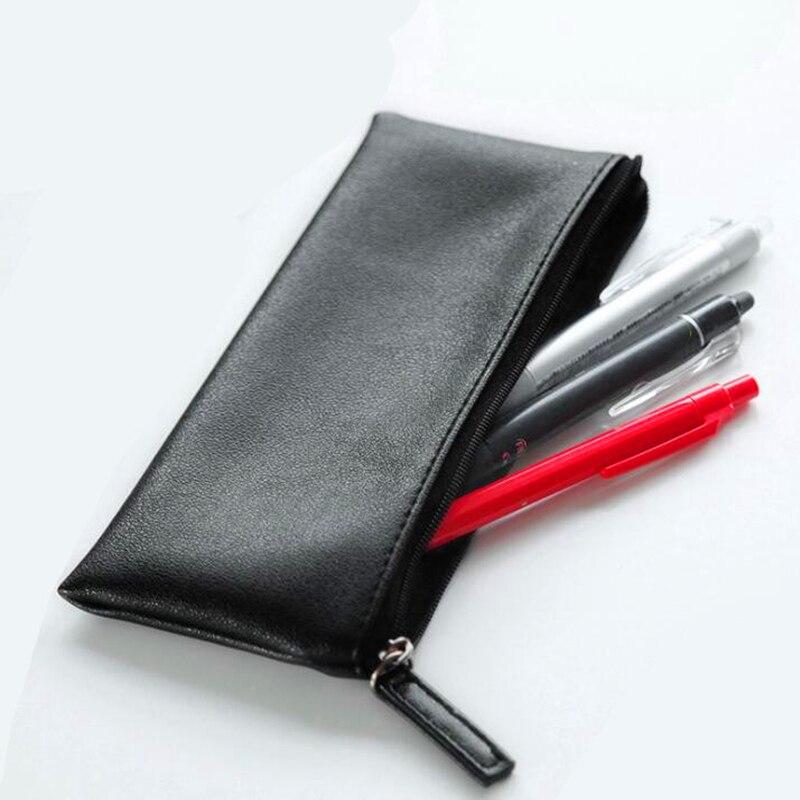 1 pçs caixa de lápis de couro simples caneta sacos feminino menina compõem titular presente escola papelaria presente