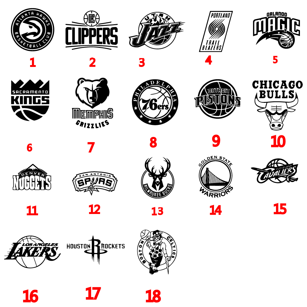 18 Styles NBA Basketball Team Logo Funny Car Sticker Auto Wrap Vinyl Art For Cars Windows Body Decoration Accessories image