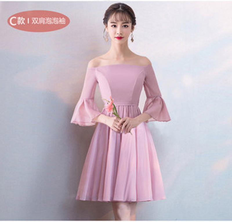Pink Chiffon Dress Elegant Women Wedding Party Dress Bridesmaid Junior Vestido De Festa Longo Simple Dress Sister Sexy Prom Club
