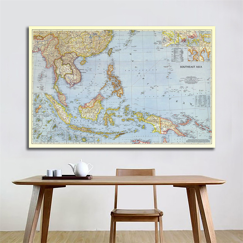 90*60cm Southeast Asia 1944 World Map Horizontal Map World Detailed Poster Wall Chart Paper Kraft Paper Home Office Decoration