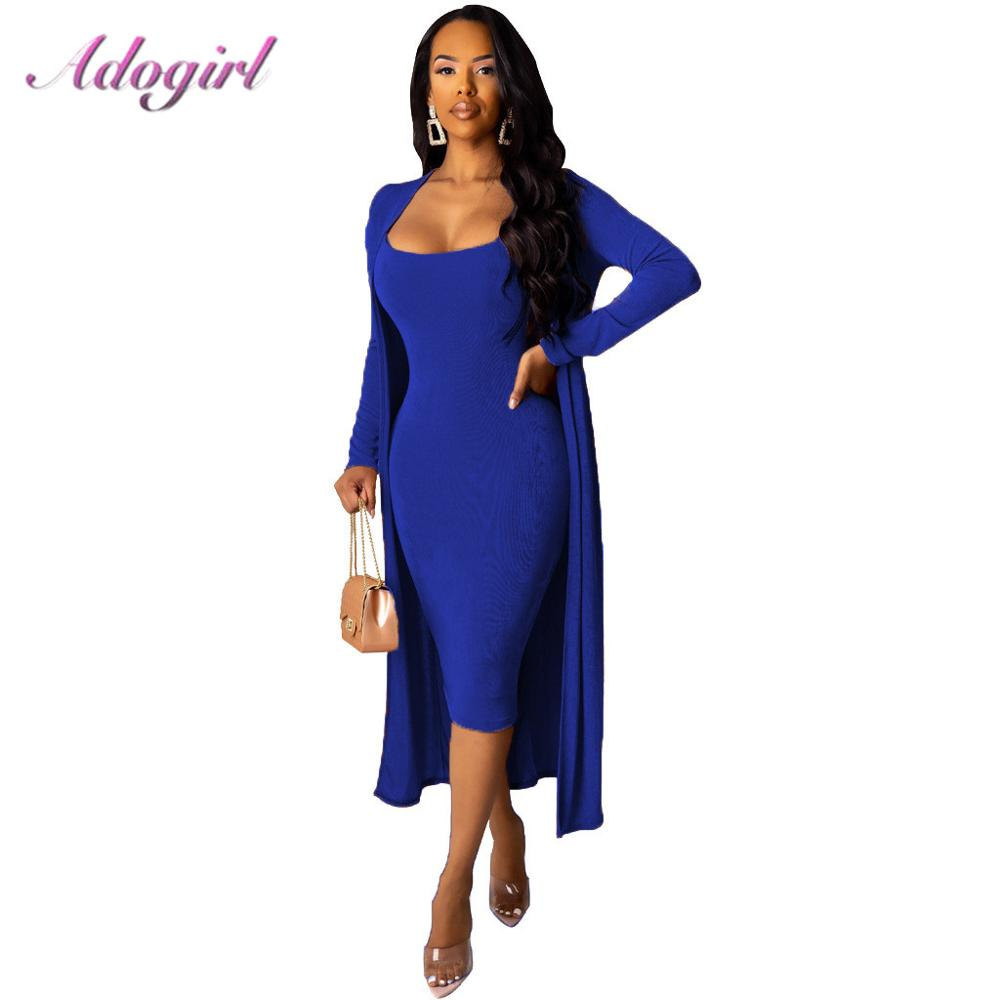 Adogirl Two Piece Set Autumn Elegant Velvet Strap V Neck Bodycon Dress + Long Sleeve Cloak Coat Dress Set Evening Party Vestidos