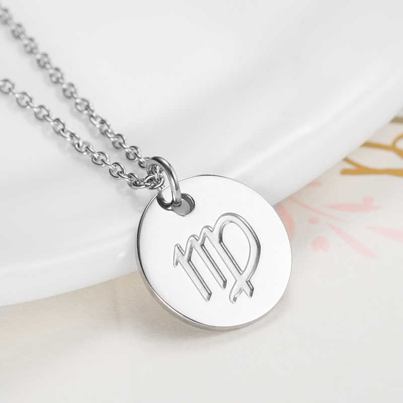 Womens Constellation Chokers Necklaces  Necklace Women Zodiac Necklace Women Zodiac Sign Constellation Stainless Steel Necklace