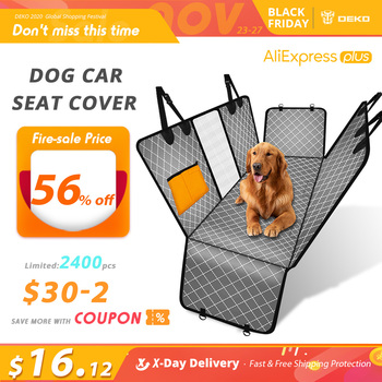 DEKO Dog Car Seat Cover View Mesh Pet Carrier Hammock Safety Protector Car Rear Back Seat Mat With Zipper And Pocket For Travel