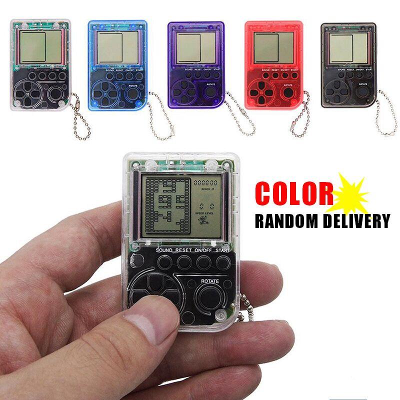 Mini Console Game Machine Children's Handheld Nostalgic Mini Game Console With Keychain Tetris Video Game Kids Children Gifts