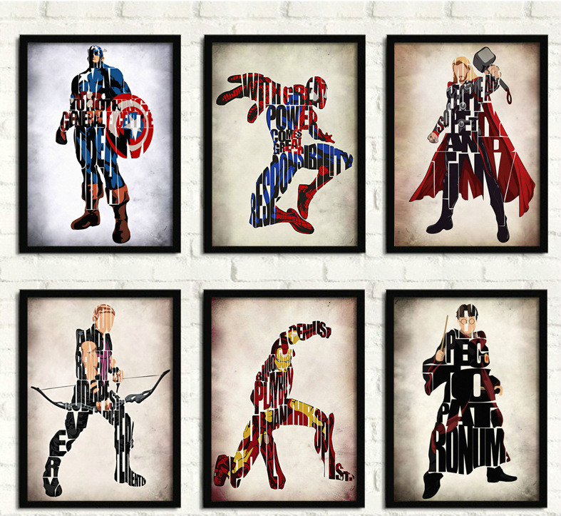 marvel's-the-font-b-avengers-b-font-edward-scissorhands-superman-batman-ironman-decorative-painting-youth-bedroom-oil-paintings-bar-canvas-art