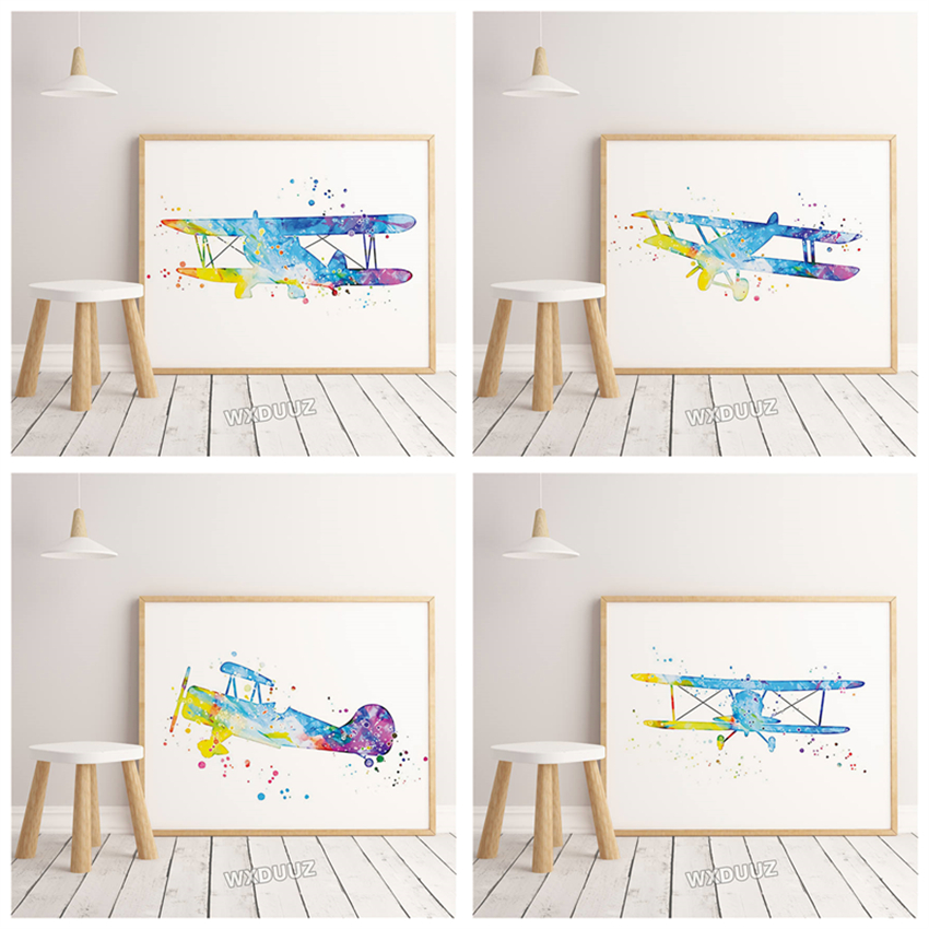 Watercolor art print poster airplane bedroom living room mural cartoon Home Decor Nursery Kids Room Painting canvas painting 274 image