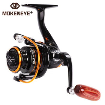 5.2:1 Gear Ratio CNC Alloy Line Spool Fishing Reel Spinning Wheel Imitation Wood Handle Metal Transmission System Ultralight