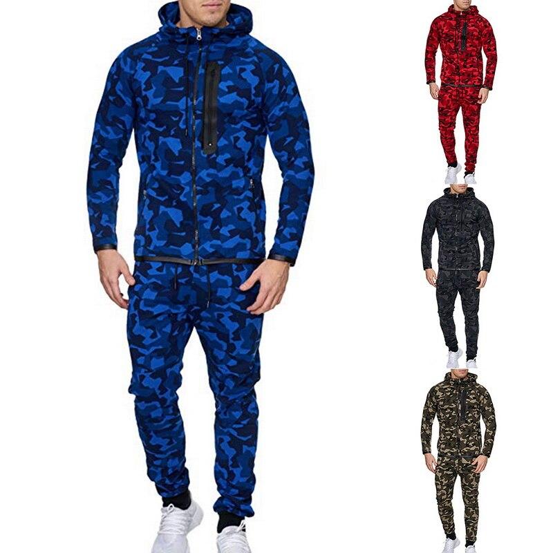 Sfit 2 Pieces Sport Tracksuit Men Camouflage Print Ropa Hombre Set Zipper Pocket Hoodies Jackets + Pencil Jogging Homme