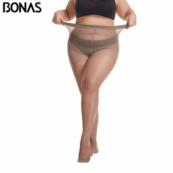 BONAS 20D Ultra-thin Women Plus Size Tights Large 120kg Pantyhose Sexy Super Elastic Queen Nylon Female New - discount item  45% OFF Women's Socks & Hosiery
