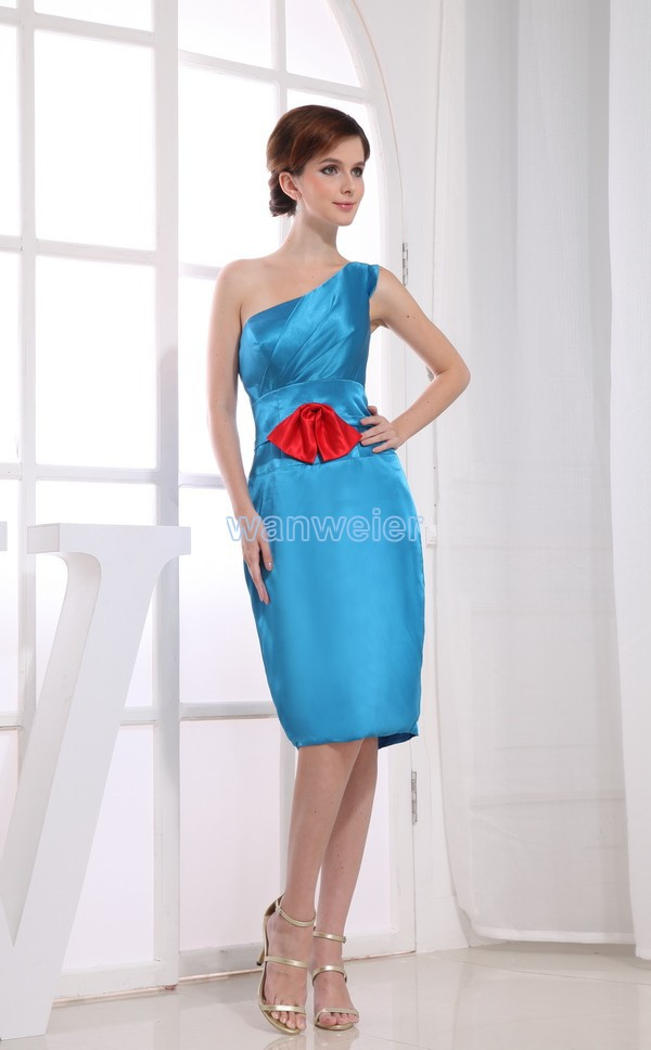 Dress For Party Free Shipping Formal Gown 2016 One Shouler Blue Handmade Red Bow Knee-length Sexy Brides Maid Bridesmaid Dresses