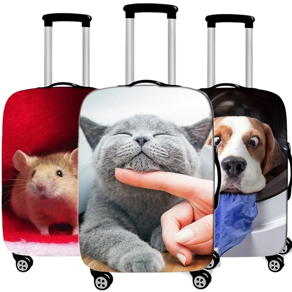 Travel Accessories Cute Animal Cat Luggage Case Protective Cover Waterproof Thicken Elastic Suitcase Trunk Case Apply 18-32 Inch
