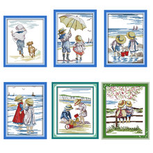 Набор для вышивки крестиком Детская игра на пляже 11ct 14ct