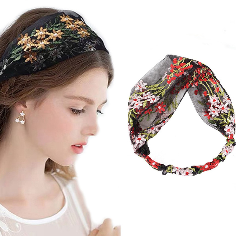 Haimeikang Korean Simple Turban Face Wash Hair Band Lace Wide-Brimmed Headband Female Women Retro Headdress Hair Accessories