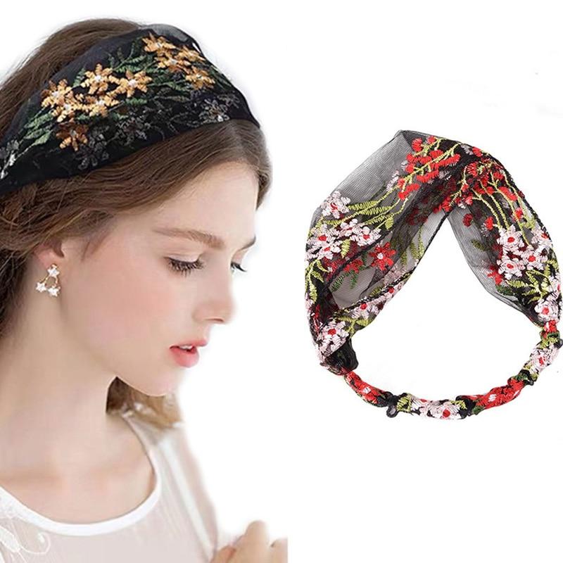 Haimeikang Korean Simple Turban Face Wash Hair Band Lace Wide-Brimmed Headband Female Women Retro Headdress Hair Accessories