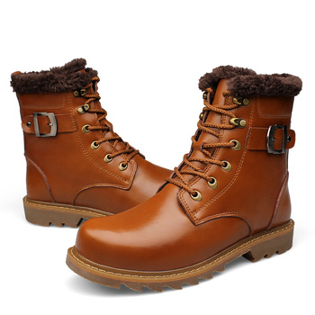 Genuine Leather Men Snow Boots Top Quality Safety Shoe For Man Waterproof Boots Men Footwear Big Size Winter Men Boots