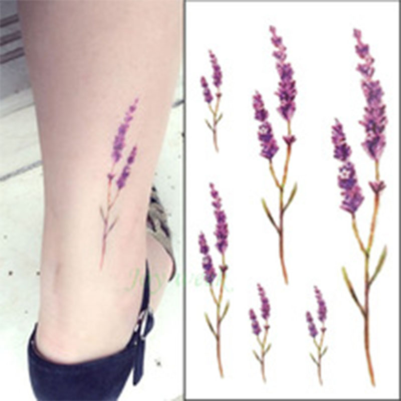 Waterproof Temporary Tattoo Sticker Cute Sexy Lavender Flowers Leaves Loli Gun Tatoo Water Transfer Fake Tattoo For Kid Adult