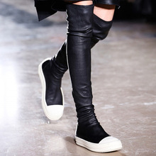 Stretch over the knee boots women flat platform patchwork runway autumn winter shoes thigh high boots elastic long booties 2020