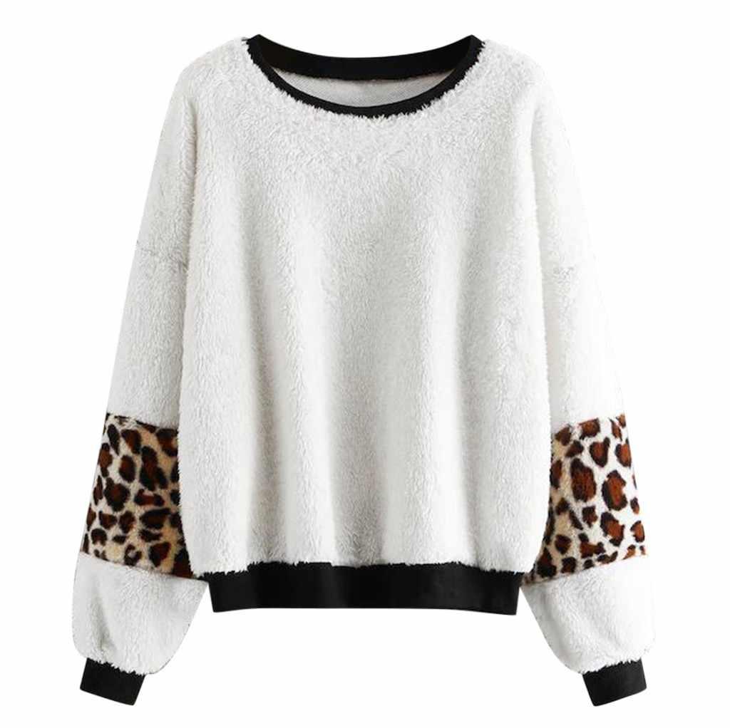 Suéteres de cuello redondo suéter suelto mujer Pull moda Pullover mujer 2019 Otoño Invierno mujer tejido leopardo Patchwork Pullover