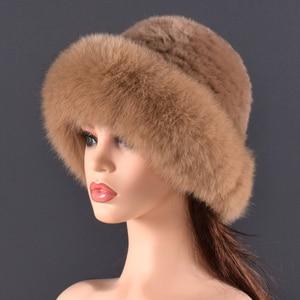 Image 5 - Vrouwen Echt bont Hoed konijnenbont en vossenbont Bescherming Oor Pluizige mutsen mode Gebreide cap warme winter bont hoeden voor vrouwen Ski
