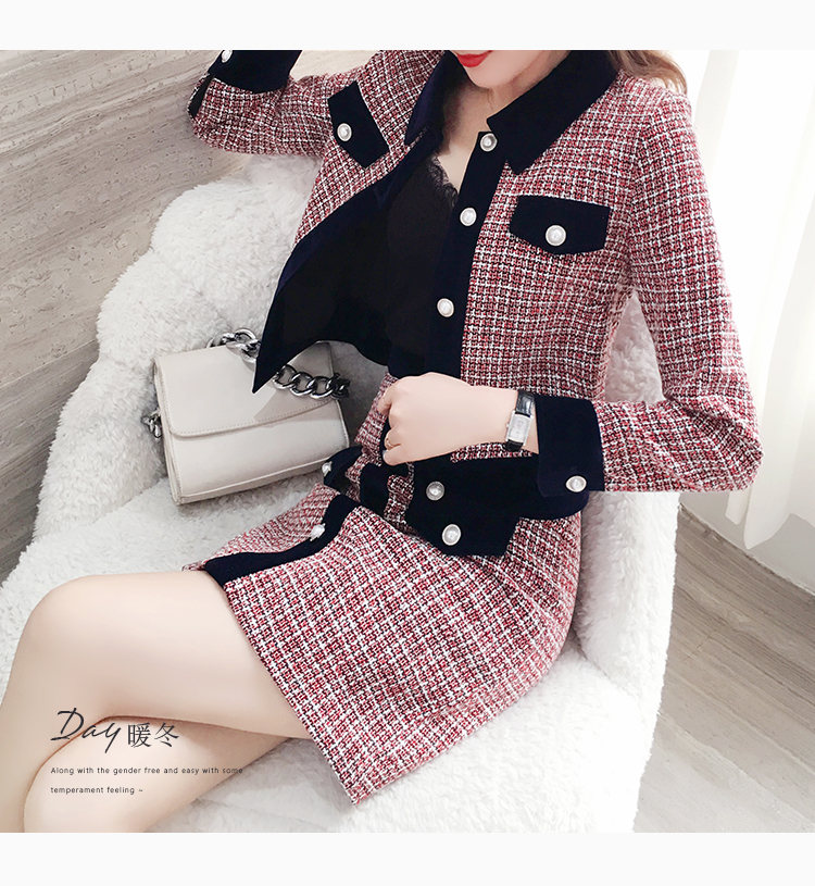 Ha0eda7db6eac4b5b898f908d24f307671 - Winter Women Tweed Vintage Two Piece Skirt Suits Sets Buttons Coat And A-line Skirt Outfits Sets Elegant Fashion 2 Piece Sets