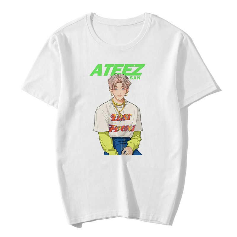 ATEEZ กลุ่มชาย Harajuku เกาหลีสไตล์เสื้อยืดความงามเสื้อผ้าฤดูร้อนผู้หญิงแฟชั่นแขนสั้น E Girl Gothic TOP